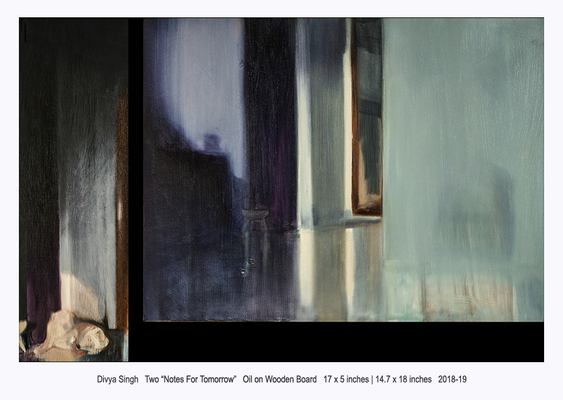 """Divya Singh/Two""""notes For Tomorrow""""/Oil on Wooden Board/ 17x5 Inches 14.7x18 Inches  2018-19All Images are Courtesy of the Artists and Shrine Empire Gallery, New Delhi."""
