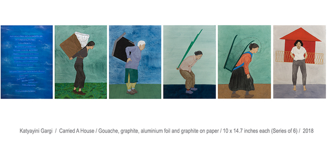 Katyayini Gargi/ Carried A House/ Gouache, Graphite, Aluminium Foil and Graphite on paper/10x14.7 Inches each (Series of 6)/2018All Images are Courtesy of the Artists and Shrine Empire Gallery, New Delhi.