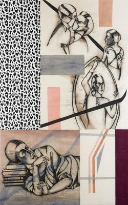 Shadow Lines Anju Dodiya, Shadow Lines, 2018, Charcoal and watercolour on fabric piece243.8 cm x 152.4 cm. From the Prabhakar Collection.