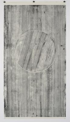Touching Integrity Neha Choksi, Touching Integrity (Larch) 8, 2016, Woodcut on Kozo paper, 228.6 cm x 127.3 cm. From the Prabhakar Collection.