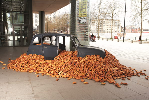BREAD Debesh Goswami, Bread for Everybody, Bread and car, size variable, Image Courtesy of Brittany Museum, France, © DebeshGoswami.