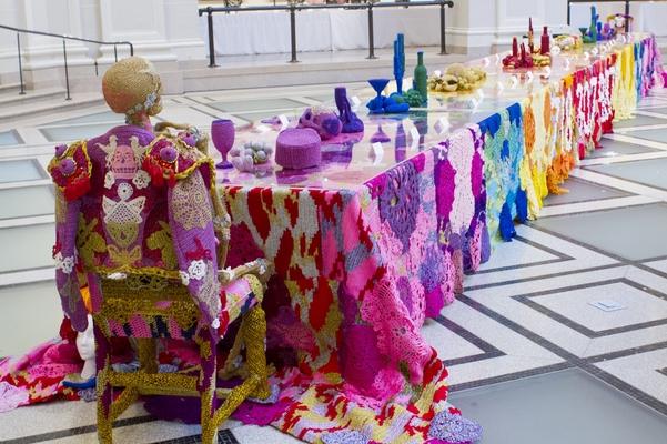 Crocheted table, Brooklyn Artists Ball, Brooklyn Museum, New York, 2014. Image Courtesy of Liz Ligon