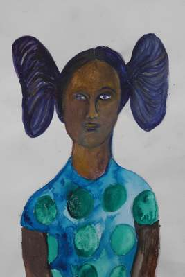 Girl with Bunches, Watercolour on watercolour paper, 420 mm x 297 mm, 2015 .