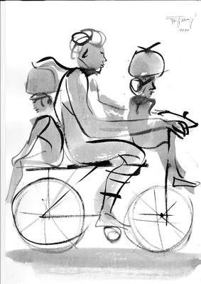 Jatin Das_Labourer Exodus_9_Ink Painting on Paper_17x12in_2020 (Custom)