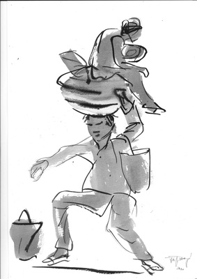 Jatin Das_Labourer Exodus_3_Ink Painting on Paper_17x12in_2020 (Custom)