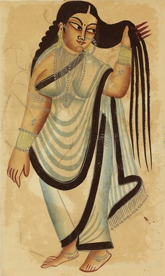 Folio with Depictions a Courtesan, Opaque pigments with silver on paper, Kalighat, Calcutta, c. 1870