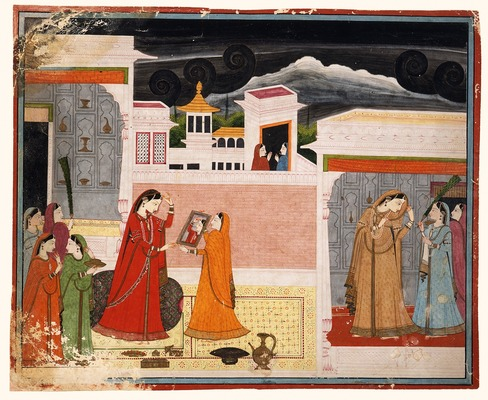 Damayanti Looks in the Mirror, Folio from a Nala-Damayanti, Opaque watercolour and gold on paper, ca. 1790 From the Nasli and Alice Heeramaneck