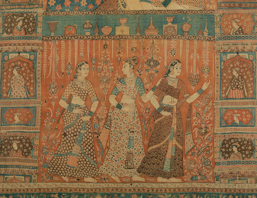 Kalamkari Hanging with Figures in an Architectural Setting, Cotton; plain weave, mordant-painted and dyed, resist-dyed, ca. 1640–50. Credit Line: Gift of Mrs Albert Blum, 1920. Image Credit: The Met Museum