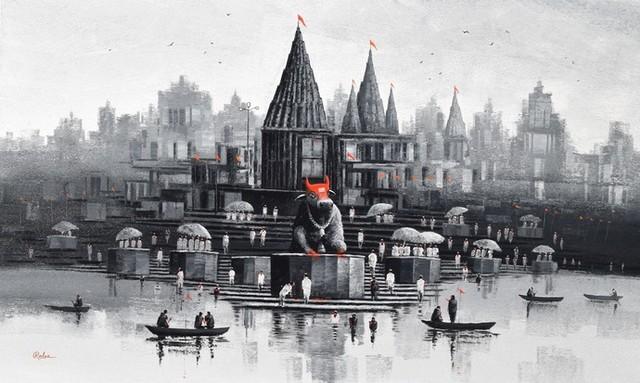 Nandi On Banaras Ghat 6 By Reba Mandal