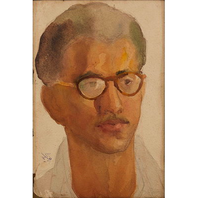 Portrait (1950), Medium: Water colour on paper. Size: 10.43 X 6.50 inches
