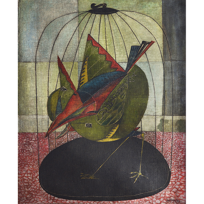 Bird in the Cage, Medium: Oil on canvas. Size: 34.25 X 28.35 inches