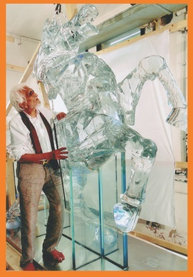 M.F. Husain photographed in 2009 with one of his Murano-glass horses