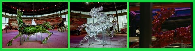 Each of these glass horses weigh nearly 2 tonnes each