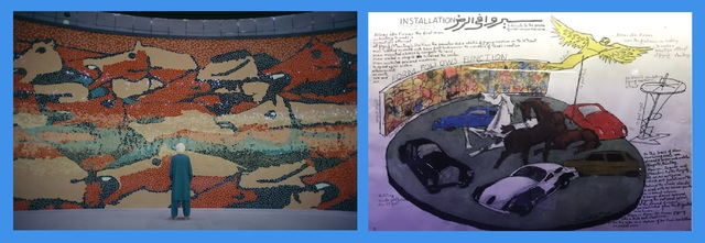 The giant mosaic backdrop (left) and drawings left behind by the artist