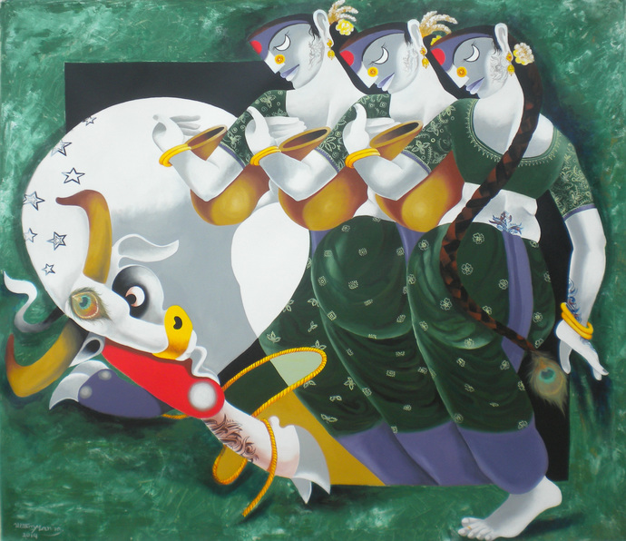 Bull and Radha by Uttam Manna, Decorative, Decorative Painting, Acrylic on Canvas, Beige color