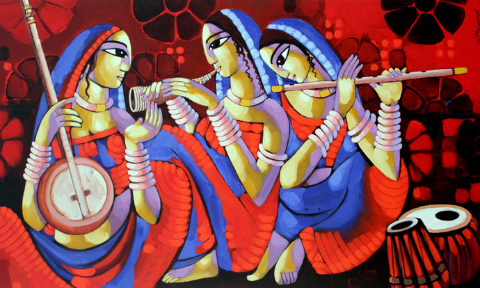 Music 1 by Sekhar Roy, Decorative Painting, Acrylic on Canvas, Brown color