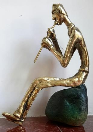 The Solitary Flutist by Usha Ramachandran, Art Deco Sculpture | 3D, Bronze, White color