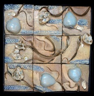 Symbiosis wall mural by Kristine Michael, Pop Art Sculpture   3D, Ceramic, Beige color