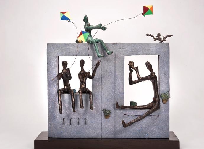 Simple Pleasures (Kite) by Manjari Goenka, Conceptual Sculpture | 3D, Bronze, Gray color