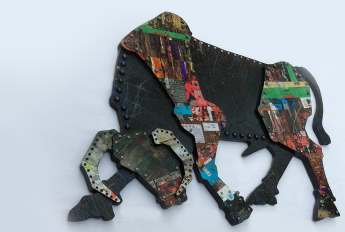 Salutation to the kindness by sharath kumar , Decorative Sculpture   3D, Mixed Media on Wood, Beige color