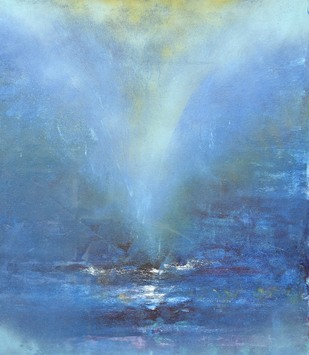 Untitled (Vast Sky) by Mahesh Sharma, Impressionism Painting, Acrylic on Canvas, Blue color