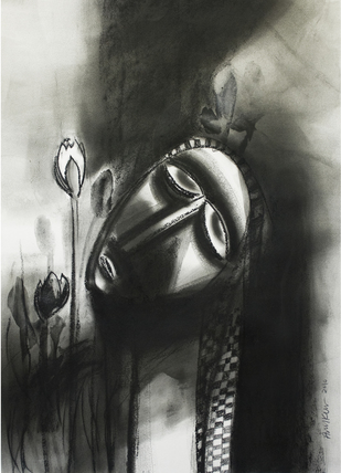 waiting in night by Arun K Mishra, Illustration Painting, Charcoal on Paper, Gray color