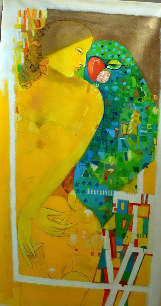 Yellow frame 2 acrylic on canvas   32 x52 inch 2016 copy