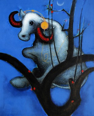 Music Of Life by Nivas Kanhere, Expressionism Painting, Acrylic on Canvas, Blue color