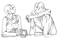 conversation 1 by Nitin Kushwaha, Illustration Drawing, Ink on Paper, Gray color