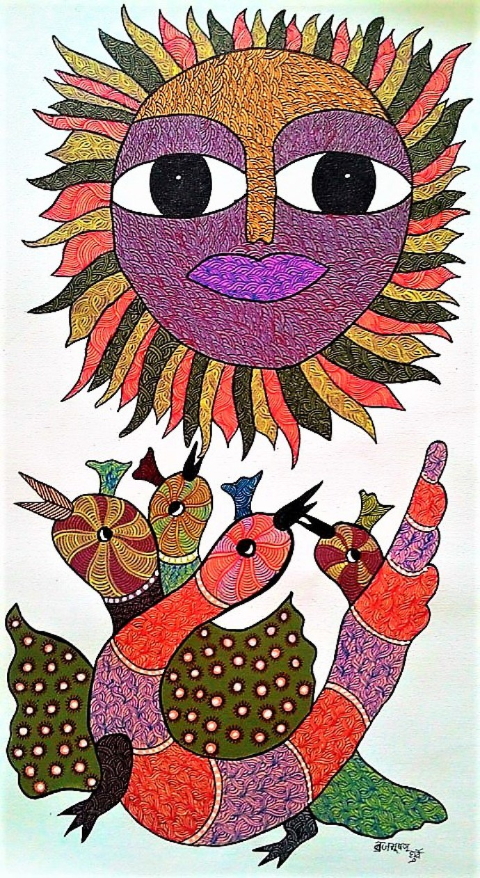 Gond painting birds chirping in a beautiful daylight. by Brajbhushan Dhurve, Tribal Painting, Acrylic on Canvas, Brown color
