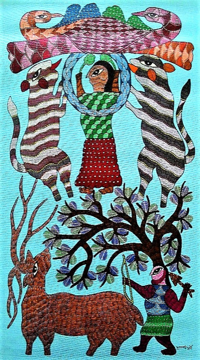 Gond painting illustrating two love birds. by Brajbhushan Dhurve, Tribal Painting, Acrylic on Canvas, Cyan color