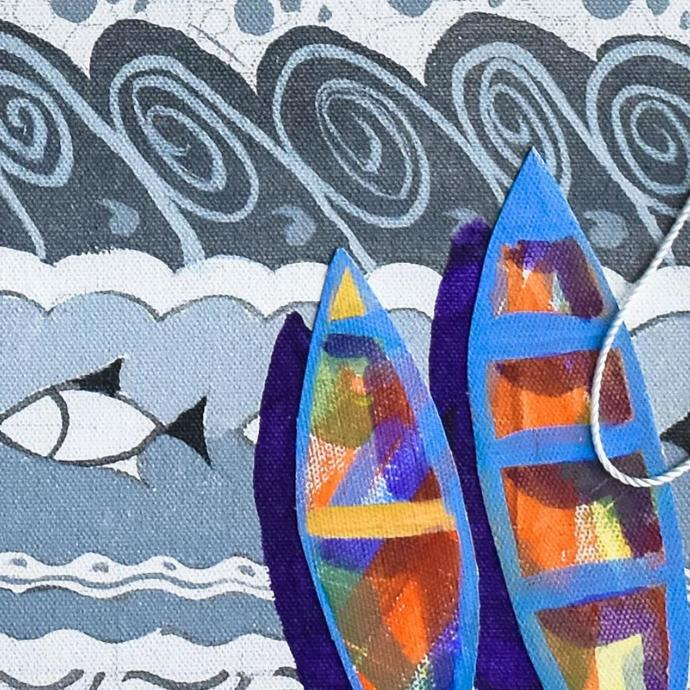 Nouka II (boats) by Adhijit Bhakta, Geometrical Painting, Acrylic on Canvas, Brown color