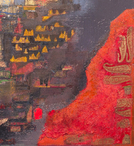 hence.... breath flows by Sonu Sandhu, Expressionism Textile, Mixed Media on Canvas, Brown color