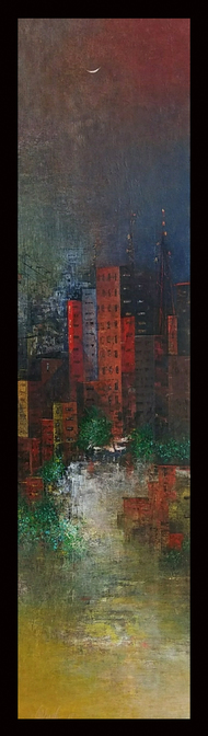 Cityscape by M Singh, Geometrical Painting, Acrylic on Canvas, Brown color