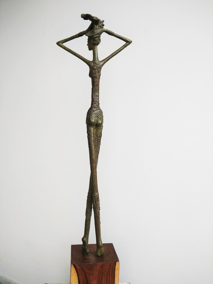 Free by BASUDEB BISWAS, Art Deco Sculpture | 3D, Bronze, Gray color