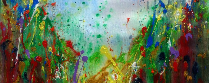 Valley of Love by Anshu, Abstract Painting, Acrylic on Paper, Brown color