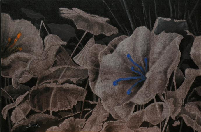 Blossom 3 by Sulakshana Dharmadhikari, Expressionism Painting, Acrylic on Canvas, Gray color