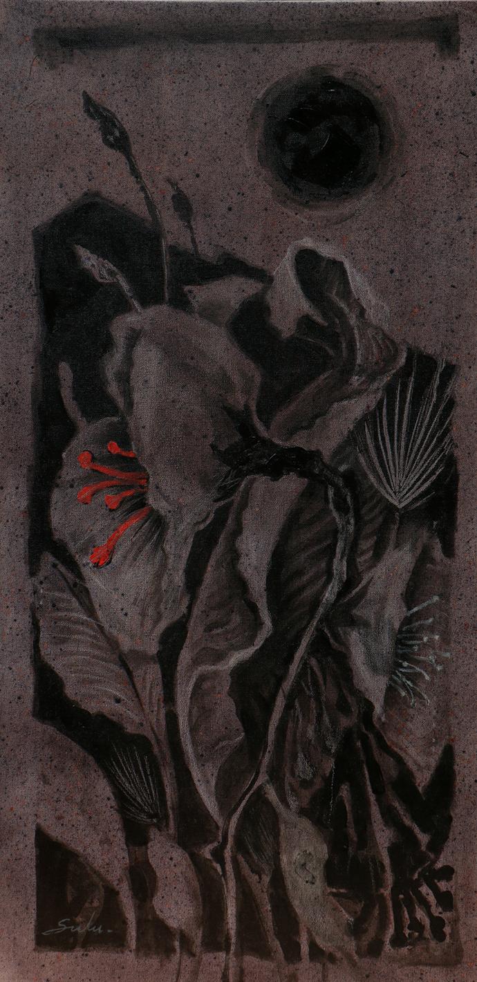 Blossom 4 by Sulakshana Dharmadhikari, Expressionism Painting, Acrylic on Canvas, Gray color