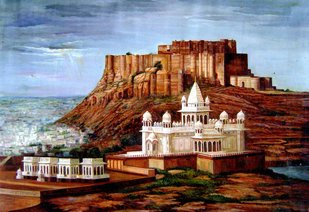 mehrangarh fort by Vishal Gurjar, Impressionism Painting, Acrylic & Ink on Canvas, Casper color