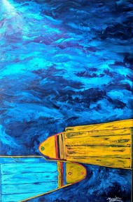 Harmony-First step to peace in Kashmir by Neeraj Raina, Expressionism Painting, Acrylic on Canvas, Blue color