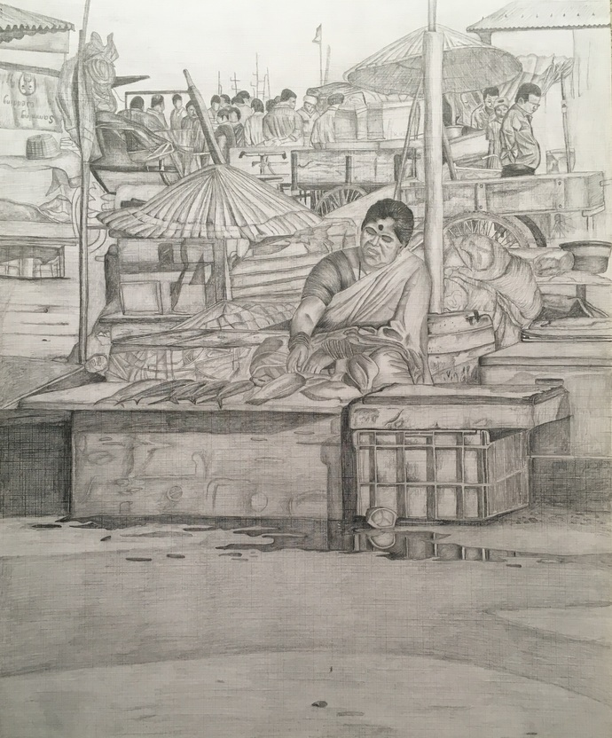 fishing harbour by d shiva prasad reddy, Illustration Drawing, Pencil on Paper, Brown color