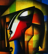 Couple by Jagannath Paul, Expressionism Painting, Acrylic on Canvas, Brown color