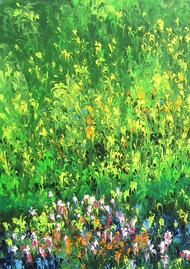 Bahar-e-Gul (Flowery Spring) by kaukab Ahmad, Abstract Painting, Acrylic on Canvas, Green color