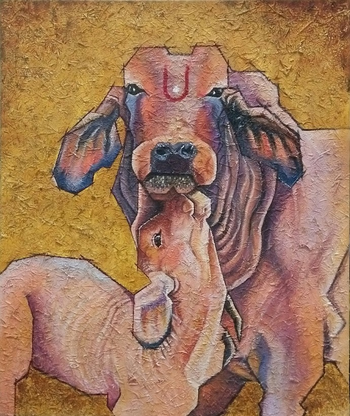 Motherhood by Shatakshi Sharma , Realism Painting, Acrylic on Canvas, Brown color