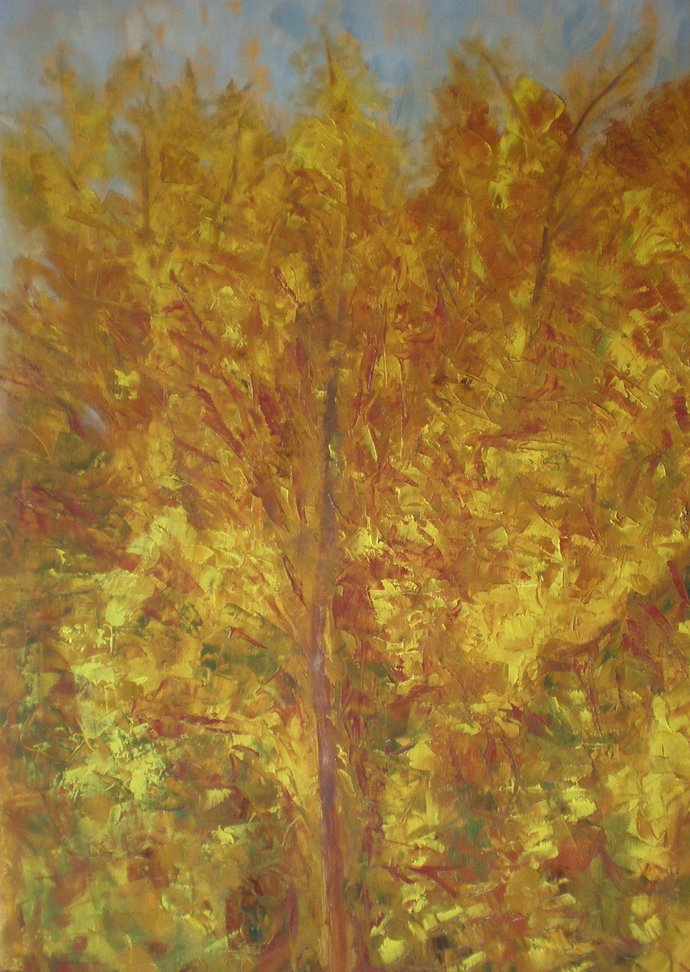 Autumnal by Deepa Kern, Expressionism Painting, Oil on Canvas, Brown color