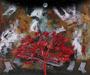 RED TREE WITH VIOLENCE by ARINDAM CHAKRABORTY, Digital Digital Art, Digital Print on Archival Paper, Brown color