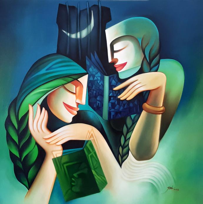 readers by Jai Srivastava, Decorative Painting, Oil & Acrylic on Canvas, Green color