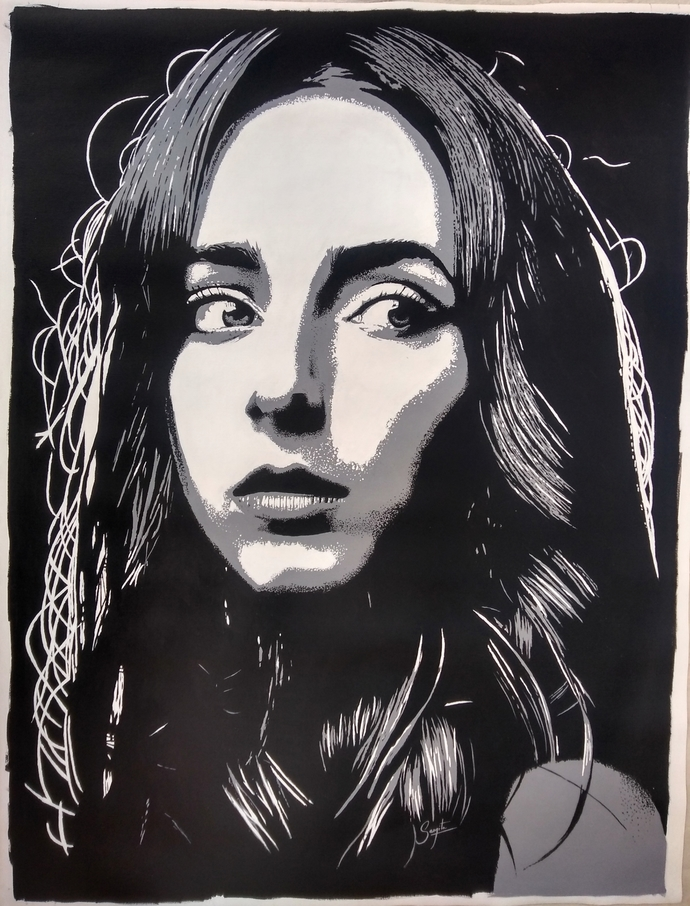 Portrait of a girl #2 by Sangeeta Jaiswal, Expressionism Painting, Acrylic on Canvas, Black color