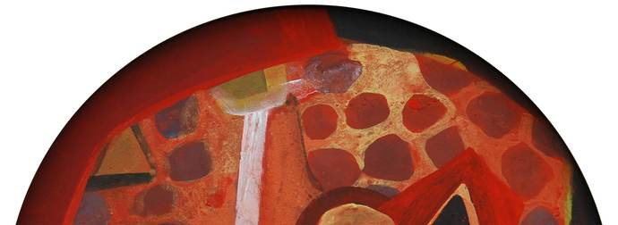 Abstract by Tapas Ghosal, Abstract Painting, Acrylic on Canvas, Brown color