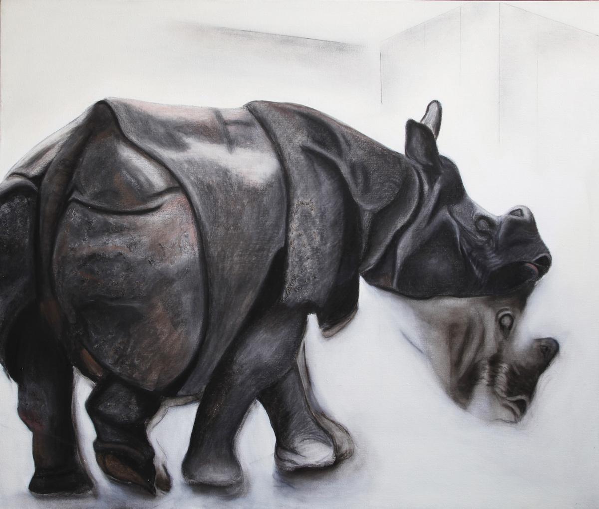 Alka jhamb the rhino 50x60  mixed media canvas 95 000